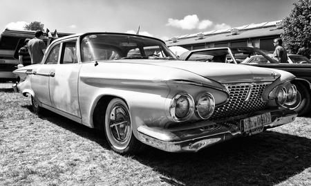 fury: PAAREN IM GLIEN, GERMANY - MAY 19: Full-size car Plymouth Fury, 1961 (black and white), The oldtimer show in MAFZ, May 19, 2013 in Paaren im Glien, Germany