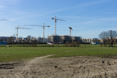 marzahn: BERLIN - APRIL 02, 2016: Construction of a new residential quarter of the urban district of Marzahn, East Berlin. Editorial