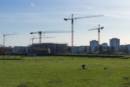 east berlin: BERLIN - APRIL 02, 2016: Construction of a new residential quarter of the urban district of Marzahn, East Berlin. Editorial