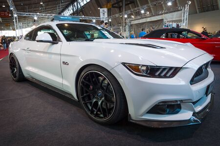 mustang gt: STUTTGART, GERMANY - MARCH 17, 2016: Pony car Ford Mustang GT fastback coupe (sixth generation), 2015. Europes greatest classic car exhibition RETRO CLASSICS Editorial