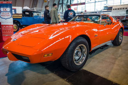 corvette: STUTTGART, GERMANY - MARCH 17, 2016: Sports car Chevrolet Corvette Stingray Coupe (C3), 1975. Europes greatest classic car exhibition RETRO CLASSICS