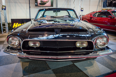 tribute: STUTTGART, GERMANY - MARCH 17, 2016: Pony car Shelby Cobra GT 350 Convertible Tribute, 1968. Europes greatest classic car exhibition RETRO CLASSICS