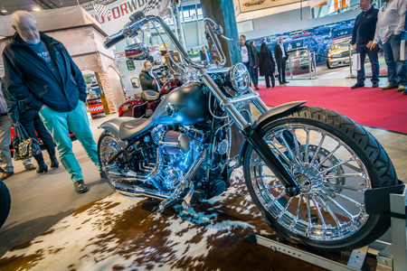breakout: STUTTGART, GERMANY - MARCH 17, 2016: Motorcycle Harley-Davidson FXSB Softail Breakout Crazy Diamond. Europes greatest classic car exhibition RETRO CLASSICS