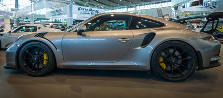 gt3: STUTTGART, GERMANY - MARCH 17, 2016: Sports car Porsche 911 GT3 RS 991, 2016. Europes greatest classic car exhibition RETRO CLASSICS
