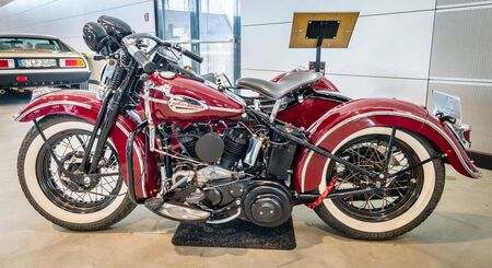 sidecar: STUTTGART, GERMANY - MARCH 17, 2016: Motorcycle Harley-Davidson WLA 45 Gespann, 1944 with sidecar Simard Rocketman, 1934. Europes greatest classic car exhibition RETRO CLASSICS