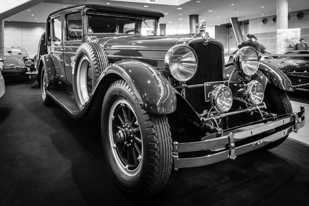 brougham: STUTTGART, GERMANY - MARCH 17, 2016: Vintage car Stutz Vertical Eight Brougham, 1927. Black and white. Europes greatest classic car exhibition RETRO CLASSICS