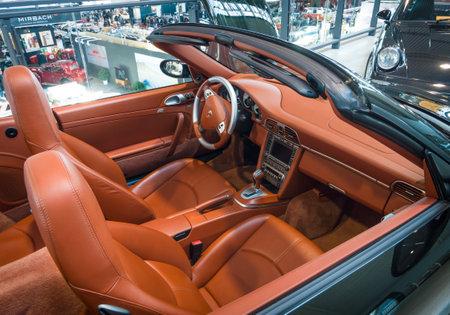 classics: STUTTGART, GERMANY - MARCH 17, 2016: Cabin of a sports car Porsche 911 Carrera 4S Cabriolet. Europes greatest classic car exhibition RETRO CLASSICS Editorial