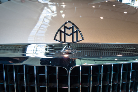 STUTTGART, GERMANY - MARCH 17, 2016: Hood ornament of full-size luxury car Maybach 57S, 2006. Europe's greatest classic car exhibition