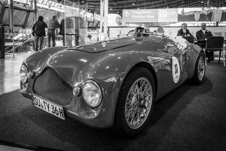 classics: STUTTGART, GERMANY - MARCH 17, 2016: Sports car based on the Fiat Topolino A, body Barchetta Corsa, 1950. Black and white. Europes greatest classic car exhibition RETRO CLASSICS