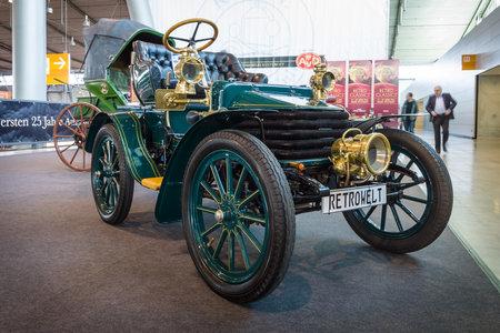 classics: STUTTGART, GERMANY - MARCH 17, 2016: Vintage car Wolseley, 1904. Europes greatest classic car exhibition RETRO CLASSICS