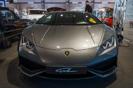lp: STUTTGART, GERMANY - MARCH 17, 2016: Sports car Lamborghini Aventador LP 750-4 Superveloce. Europes greatest classic car exhibition RETRO CLASSICS