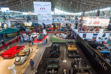 classics: STUTTGART, GERMANY - MARCH 17, 2016: One of the exhibition halls. View from above. Europes greatest classic car exhibition RETRO CLASSICS