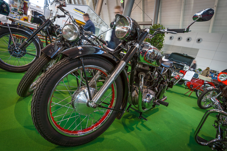 regina: STUTTGART, GERMANY - MARCH 17, 2016: Motorcycle Horex Regina, 1950. Europes greatest classic car exhibition RETRO CLASSICS