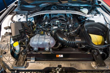 engine compartment: STUTTGART, GERMANY - MARCH 17, 2016: Engine of Ford Mustang Shelby GT 350, 2015. Europes greatest classic car exhibition RETRO CLASSICS Editorial