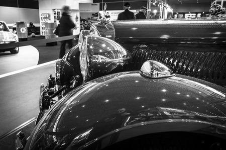 typ: STUTTGART, GERMANY- MARCH 17, 2016: Fragment of vintage car Mercedes-Benz Typ 320 (W142) Cabriolet A, 1938. Black and white. Europes greatest classic car exhibition RETRO CLASSICS