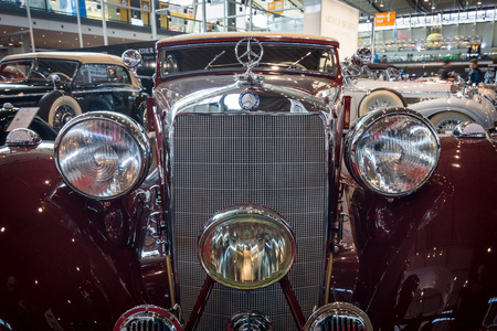 STUTTGART, GERMANY- MARCH 17, 2016: Fragment of vintage car Mercedes-Benz Typ 320 (W142) Cabriolet A, 1938. Europes greatest classic car exhibition RETRO CLASSICS