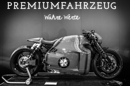 superbike: STUTTGART, GERMANY- MARCH 17, 2016: Superbike Lotus C-01, designed by Daniel Simon, 2014. Black and white. Europes greatest classic car exhibition RETRO CLASSICS