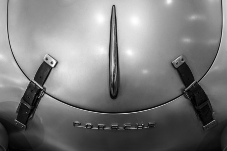 speedster: STUTTGART, GERMANY - MARCH 17, 2016: Fragment of a sports car Porsche 356 Speedster. Black and white. Europes greatest classic car exhibition RETRO CLASSICS Editorial