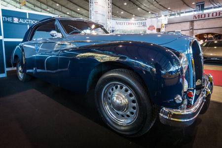 anjou: STUTTGART, GERMANY - MARCH 17, 2016: Luxury car Hotchkiss Anjou 2050 Cabriolet by Worblaufen, 1950. Europes greatest classic car exhibition RETRO CLASSICS