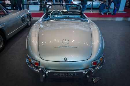 roadster: STUTTGART, GERMANY- MARCH 17, 2016: Roadster Mercedes-Benz 300SL (W198), 1957. Rear view. Europes greatest classic car exhibition RETRO CLASSICS Editorial