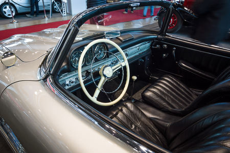 roadster: STUTTGART, GERMANY- MARCH 17, 2016: Cab of roadster Mercedes-Benz 300SL (W198), 1957. Europes greatest classic car exhibition RETRO CLASSICS