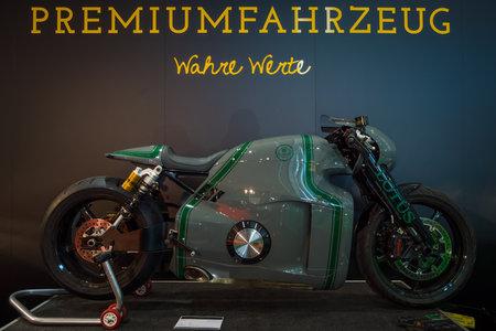 classics: STUTTGART, GERMANY- MARCH 17, 2016: Superbike Lotus C-01, designed by Daniel Simon, 2014. Europes greatest classic car exhibition RETRO CLASSICS