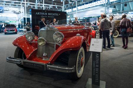 typ: STUTTGART, GERMANY- MARCH 17, 2016: Luxury car Mercedes-Benz Typ 290 Roadster (W18), 1935. Europes greatest classic car exhibition RETRO CLASSICS