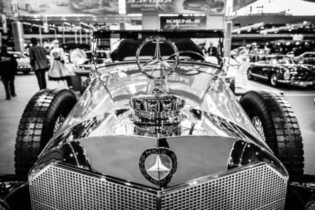 classics: STUTTGART, GERMANY - MARCH 17, 2016: Fragment of full-size luxury car Mercedes-Benz 770K Cabriolet D (W07), 1931. Black and white. Europes greatest classic car exhibition RETRO CLASSICS Editorial