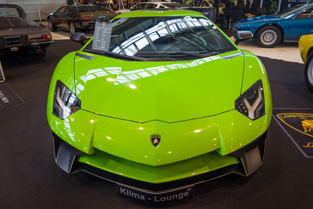 lamborghini: STUTTGART, GERMANY - MARCH 17, 2016: Mid-engined sports car Lamborghini Aventador LP 750-4 SuperVeloce, 2016. Europes greatest classic car exhibition RETRO CLASSICS Editorial