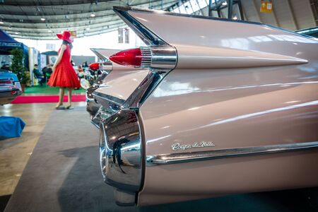 coupe: STUTTGART, GERMANY - MARCH 17, 2016: Fragment of Cadillac Coupe DeVille, 1959. Europes greatest classic car exhibition RETRO CLASSICS