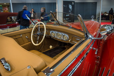 STUTTGART, GERMANY- MARCH 17, 2016: Cabin of a luxury car Mercedes-Benz Typ 290 Roadster (W18), 1935. Europes greatest classic car exhibition RETRO CLASSICS