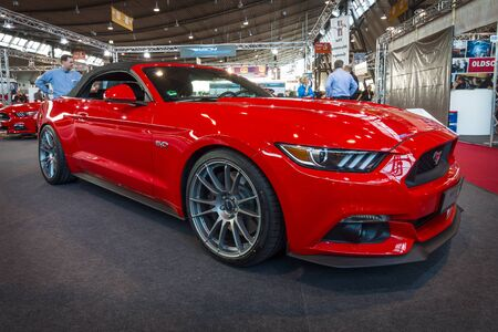 classics: STUTTGART, GERMANY - MARCH 17, 2016: Pony car Ford Mustang GT convertible (sixth generation), 2015. Europes greatest classic car exhibition RETRO CLASSICS