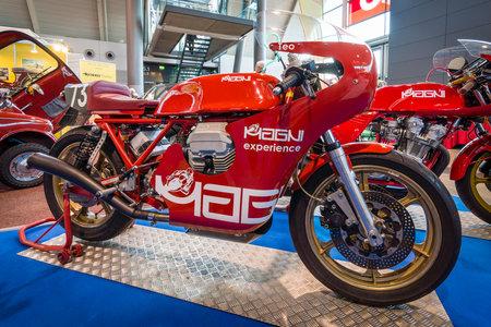 classics: STUTTGART, GERMANY - MARCH 17, 2016: Motorbike Magni Experience, 2011. Europes greatest classic car exhibition RETRO CLASSICS Editorial