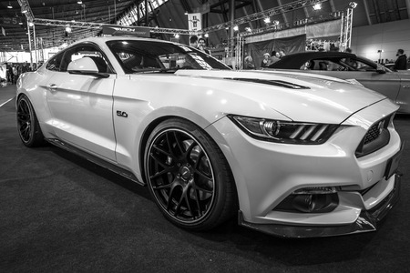 mustang gt: STUTTGART, GERMANY - MARCH 17, 2016: Pony car Ford Mustang GT fastback coupe (sixth generation), 2015. Black and white. Europes greatest classic car exhibition RETRO CLASSICS Editorial