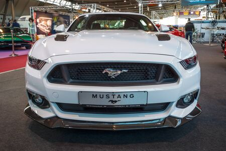 the sixth: STUTTGART, GERMANY - MARCH 17, 2016: Pony car Ford Mustang GT fastback coupe (sixth generation), 2015. Europes greatest classic car exhibition RETRO CLASSICS Editorial
