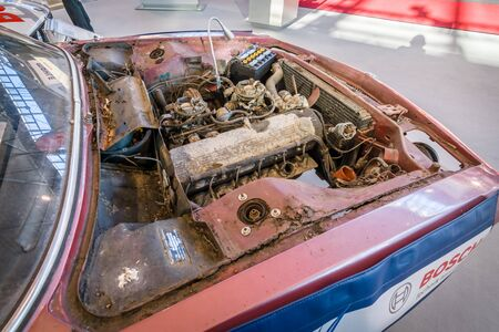 cs: STUTTGART, GERMANY - MARCH 17, 2016: A dirty and defective engine of the car BMW E9 Coupe, 1970. Europes greatest classic car exhibition RETRO CLASSICS Editorial