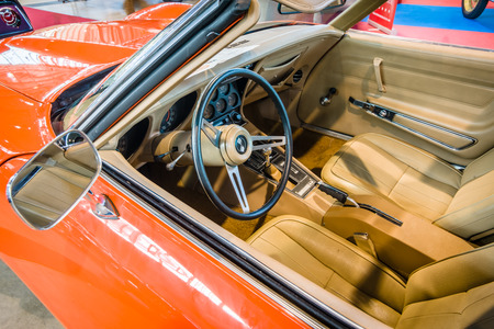corvette: STUTTGART, GERMANY - MARCH 17, 2016: Cabin of sports car Chevrolet Corvette Stingray Coupe (C3), 1975. Europes greatest classic car exhibition RETRO CLASSICS