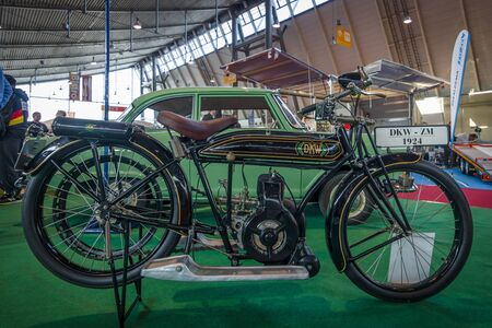 modell: STUTTGART, GERMANY - MARCH 17, 2016: Motorcycle DKW ZM Zschopauer Modell, 1924. Europes greatest classic car exhibition RETRO CLASSICS