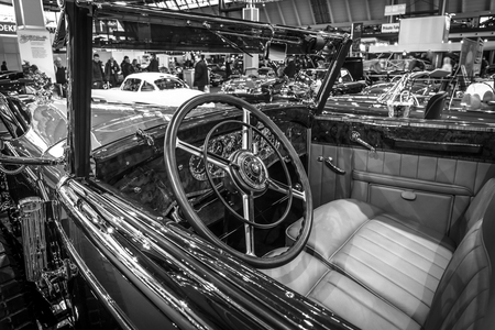 classics: STUTTGART, GERMANY - MARCH 17, 2016: Cabin of full-size luxury car Mercedes-Benz 770K Cabriolet D (W07), 1931. Black and white.  Europes greatest classic car exhibition RETRO CLASSICS Editorial