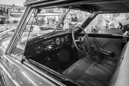 anjou: STUTTGART, GERMANY - MARCH 17, 2016: Cabin of luxury car Hotchkiss Anjou 2050 Cabriolet by Worblaufen, 1950. Black and white. Europes greatest classic car exhibition RETRO CLASSICS