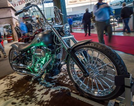 classics: STUTTGART, GERMANY - MARCH 17, 2016: Motorcycle Harley-Davidson FXSB Softail Breakout Crazy Diamond. Europes greatest classic car exhibition RETRO CLASSICS