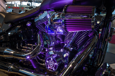 breakout: STUTTGART, GERMANY - MARCH 17, 2016: Fragment of a motorcycle Harley-Davidson FSXB Softail Breakout Crazy Diamond. Europes greatest classic car exhibition RETRO CLASSICS Editorial