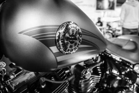 breakout: STUTTGART, GERMANY - MARCH 17, 2016: Fragment of a motorcycle Harley-Davidson FSXB Softail Breakout Crazy Diamond. Black and white. Europes greatest classic car exhibition RETRO CLASSICS