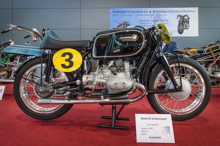 54: STUTTGART, GERMANY - MARCH 17, 2016: Racing motorcycle BMW RS 54, 1954. Europes greatest classic car exhibition RETRO CLASSICS