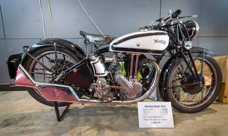 modell: STUTTGART, GERMANY - MARCH 17, 2016: Motorcycle Norton Model 18, 1935. Europes greatest classic car exhibition RETRO CLASSICS