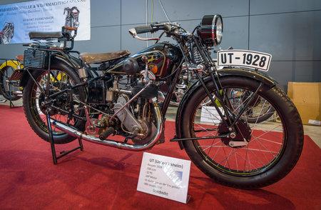 ut: STUTTGART, GERMANY - MARCH 17, 2016: Motorcycle UT (Untertuerkheim), 1928. Europes greatest classic car exhibition RETRO CLASSICS