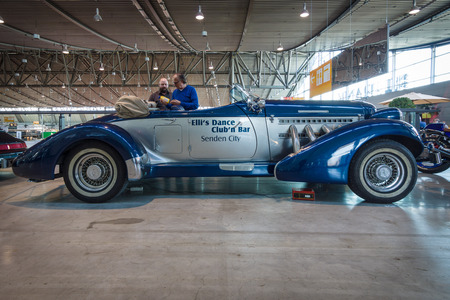 supercharged: STUTTGART, GERMANY - MARCH 17, 2016: Luxury car Auburn Duesenberg Model SJ Cabrio. Europes greatest classic car exhibition RETRO CLASSICS