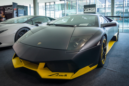 lamborghini: STUTTGART, GERMANY - MARCH 17, 2016: Sports car Lamborghini Murcielago PL650R (made only 4 copies), 2007. Europes greatest classic car exhibition RETRO CLASSICS Editorial