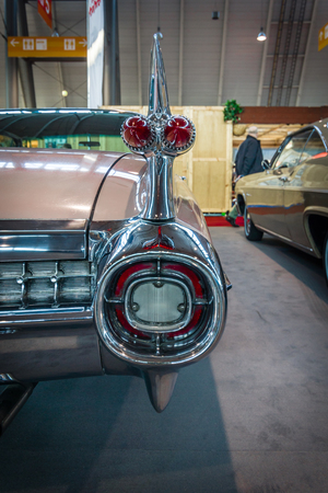 classics: STUTTGART, GERMANY - MARCH 17, 2016: Fragment of Cadillac Coupe DeVille, 1959. Europes greatest classic car exhibition RETRO CLASSICS