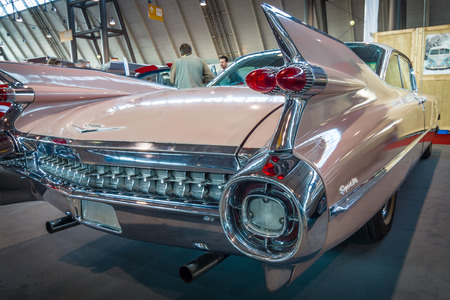 STUTTGART, GERMANY - MARCH 17, 2016: Fragment of Cadillac Coupe DeVille, 1959. Europes greatest classic car exhibition RETRO CLASSICS
